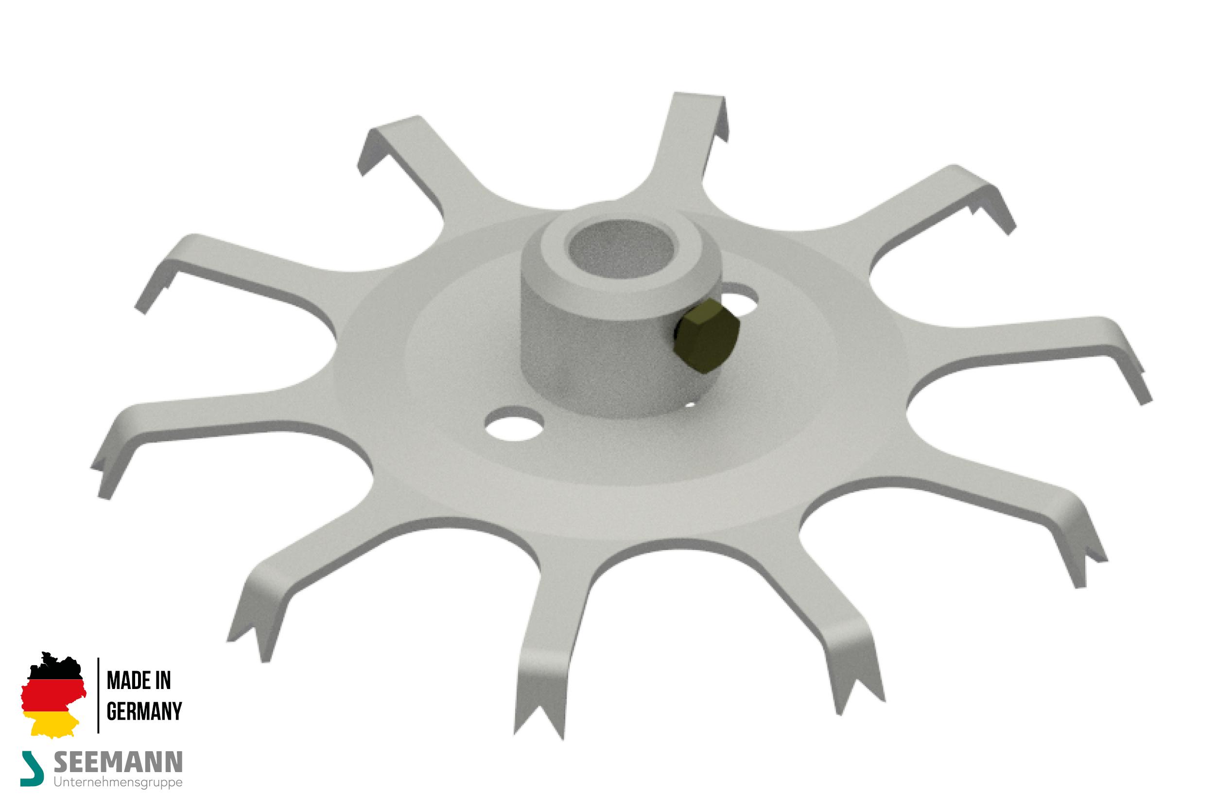 Alu-Stanzteller mit 10 Kontakten für runden Mittelstab